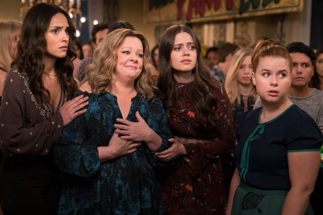 Deanna (Melissa McCarthy) becomes friends with her daughter (Molly Gordon, second from right) and her friends (Adria Arjona and Jessie Ennis).