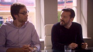 Stephen Merchant and Ricky Gervais form a double act as a version of themselves, successful creators reluctant to help out Warwick Davis.