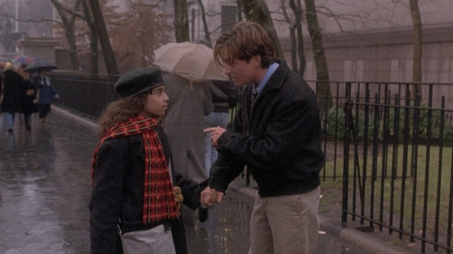 On a rainy Thanksgiving, Michael Chapman (Michael J. Fox) poses as the father of young pickpocket Angie Vega (Christina Vidal) to get her out of a jam.
