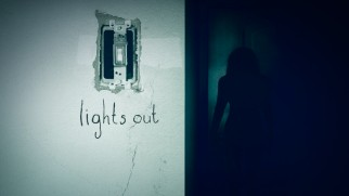 "A light switch and a creepy shadowy figure in the dark conveys what ""Lights Out"" is all about on the Blu-ray menu."