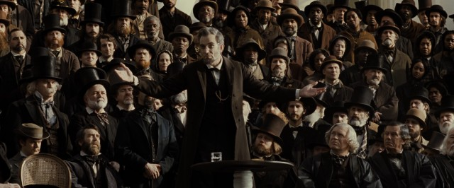 "Steven Spielberg can't resist closing ""Lincoln"" on an upbeat speech by the President (Daniel Day-Lewis) while John Williams' score flares."
