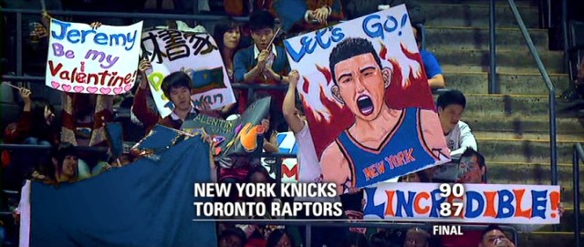 Asian fans show their support for Jeremy Lin in Toronto with creative hand-crafted signs.