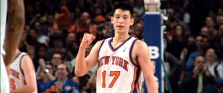 "Jeremy Lin pumps his fist during his breakout ""Linsanity"" as the New York Knicks' starting point guard."