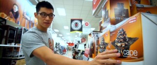 At Target, a discounted fountain catches the eye of Jeremy Lin.