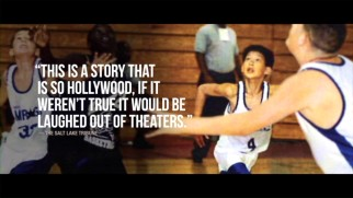 "Critical acclaim is placed over an image of a young Jeremy Lin playing basketball in the ""Linsanity"" trailer."