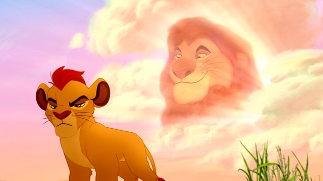 Psst...behind you, Kion. Grandfather Mufasa is up in the clouds!