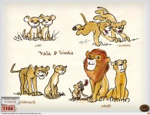 Drawings depict Simba and Nala at different ages in this piece of art from Disney Second Screen.