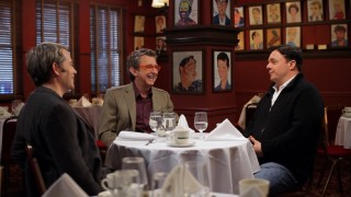 "A trio of Broadway guys, executive/producer former Disney President Thomas Schumacher (center) and actors Matthew Broderick and Nathan Lane, gather at the famed Sardi's restaurant in the new retrospective documentary ""Pride of 'The Lion King'."""