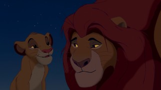 "Simba and Mufasa have a tender father-son moment in the early parts of ""The Lion King."""