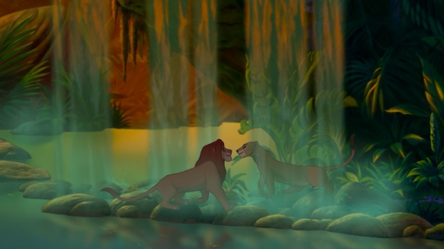 Grown-up Simba and Nala reunite near a jungle waterfall.