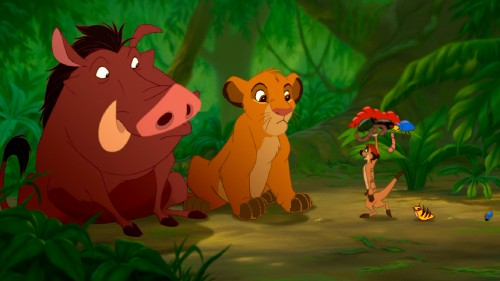 Spot the differences in this altered shot of Pumbaa, Simba, and Timon