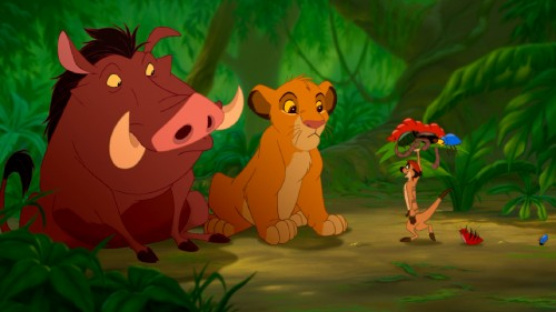This shot of Pumbaa, Simba, and Timon appears in the Hakuna Matata sequence.