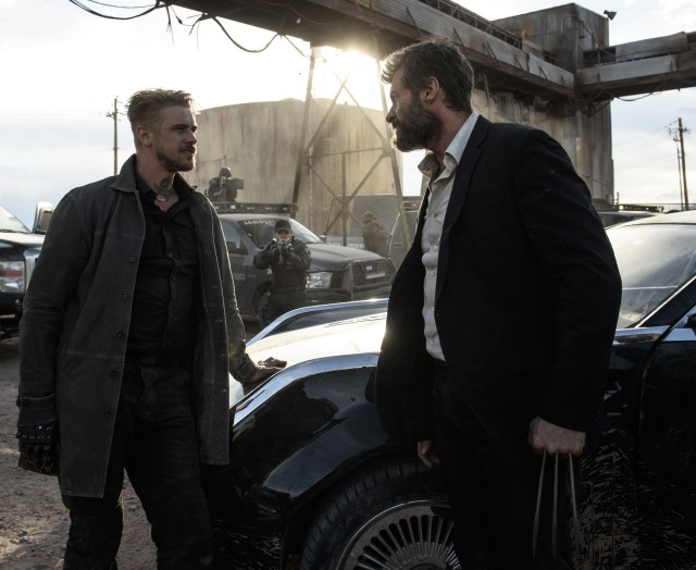 Logan (Hugh Jackman) gets out his blades in a confrontation with Donald Pierce (Boyd Holbrook).