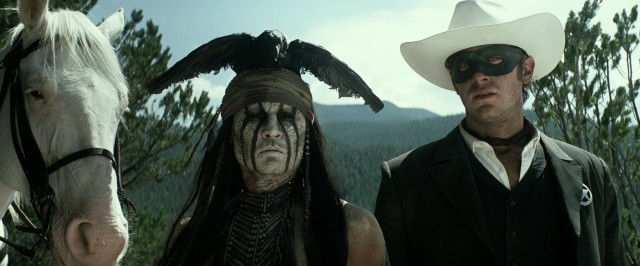 "Johnny Depp is Tonto and Armie Hammer is John Reid in Disney's 2013 adventure ""The Lone Ranger."""