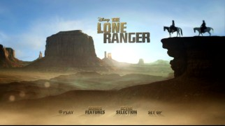 The Lone Ranger's Blu-ray and DVD main menu scans the desert landscape.