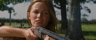 Single mother Sara (Emily Blunt) defends herself, her son, and her farm with tough talk and a loaded rifle.
