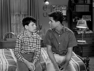 "Wally Cleaver (Tony Dow) opens up to his younger brother Beaver (Jerry Mathers) on a matter of the heart in a featured Season 4 ""Leave It to Beaver"" episode."