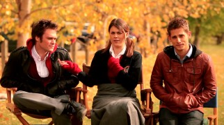 "Jamie Johnston, Lindsey Shaw, and Jean-Luc Bilodeau describe the film in a joint autumnal interview from ""Behind the Scenes."""