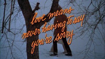 "After two minutes of showing stills, the ""Love Story"" theatrical trailer places the movie's signature line (and tagline) over Oliver and Jenny's snowy Central Park walk."