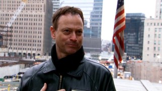 """Lt. Dan Band: For the Common Good"" opens at Ground Zero, contrasting modern reflections by Gary Sinise with powerful images of the September 11th World Trade Center terrorist attacks."