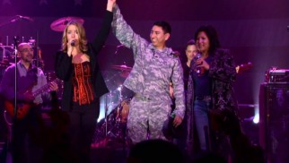 "Julie Dutchak and Mari Anne Jayme make one soldier feel special as they sing ""A Natural Woman"" to him."