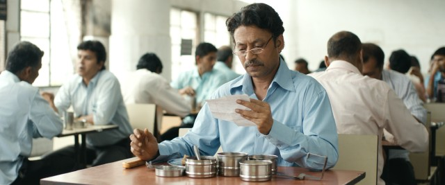 "In the Indian film ""The Lunchbox"", Saajan Fernandes (Irrfan Khan) receives handwritten notes inside his misdelivered home-cooked lunches."