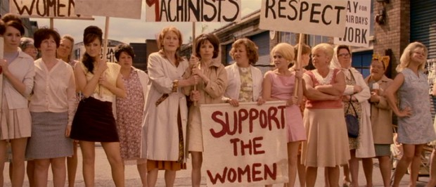 "In 1968, the female workers of Ford's Dagenham factory strike in ""Made in Dagenham."""