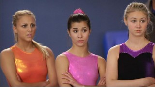 Lauren (Cassie Scerbo) may feel threatened, but Kaylie (Josie Loren) and Payson (Ayla Kell) are impressed by Emily's gymnastics skills.
