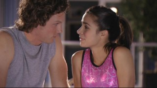 Carter (Zachary Abel) and Kaylie (Josie Loren) spend a moment together in secret.