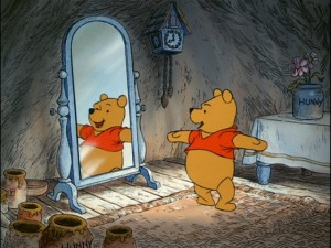"Winnie the Pooh, ""short, fat, and proud of that"", exercises to work up his appetite."
