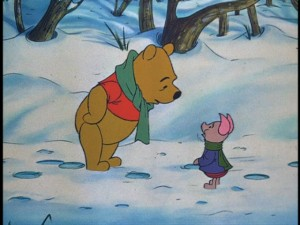 Pooh seizes an opportunity to terrify Piglet.