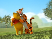 "Tigger and Pooh embrace in the sample episode of ""My Friends Tigger & Pooh."""