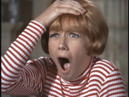 In her film debut, Sandy Duncan plays absent-minded housewife Katie. Her expression here sums up the character pretty well.