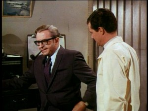 As usual, Joe Flynn plays an authority figure. In this case, his character, KPAE station owner P.J. Applegate warns Jack Crandall (Dwayne Hickman) that his traffic reports need to be spiced up like a spicy meatball.