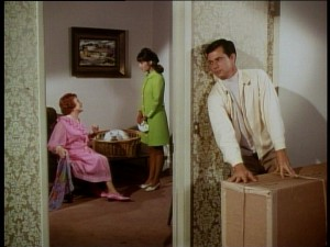 Jack tries to sneak the dog past fussy landlord Mrs. Formby (Elsa Lanchester) and her new tenant Kim (Mary Ann Mobley).
