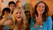 Australian actress Claire Holt gives a thumb up to a cupcake facial in the gag reel.
