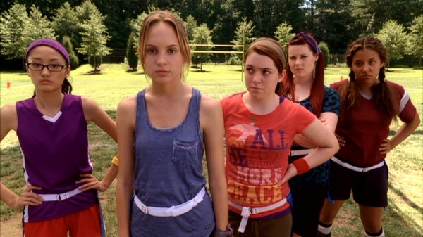 For reasons that are still unclear, the film's climax is a powderpuff football game in which the school's bad girls square off against these good girls: Ying (Juliet Kim), Jo (Meaghan Martin), Abby (Jennifer Stone), Violet (Amber Wallace) and May (Willie Larson).