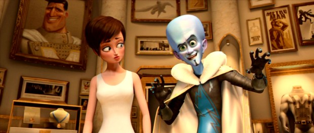 Megamind can't resist big thinking and dramatic gestures as he and Roxanne explore Metro Man's secret hideout.