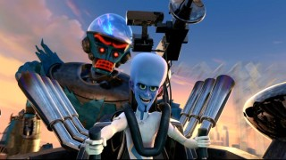 "Megamind squares off a giant robotic creation of his own in the all-new short film ""The Button of Doom."""