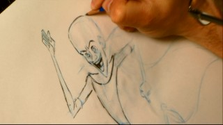 Even you can draw Megamind with two utensils and help from story artist Andy Schuhler.