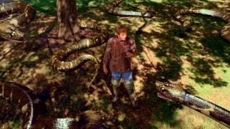 "Terry's fianc� Justin Regina (Carey Van Dyke, grandson of Dick and actor in The Asylum's ""Titanic II"") finds himself cornered by giant crudely CG-animated snakes."