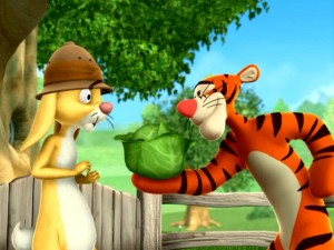 "In ""Tigger's Delivery Service,"" Tigger astounds Rabbit with his quick lettuce-catching reflexes."