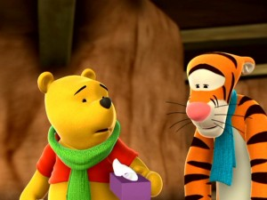 "In ""Darby, Solo Sleuth,"" Pooh and Tigger suffer through their head colds without the aid of Tylenol PM."