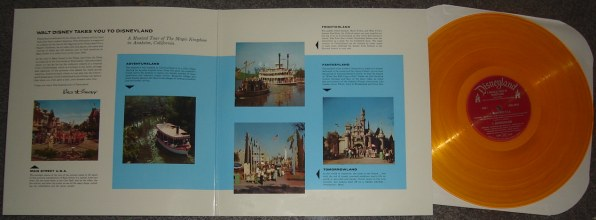 "A look inside the ""Walt Disney Takes You to Disneyland"" album and the gold vinyl record inside the initial printing."