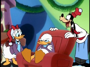 "Daisy and Goofy are among the many who try to cheer up an unseasonable Donald Duck in ""Mickey's Magical Christmas: Snowed In at the House of Mouse."""