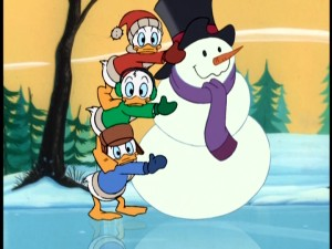 "Huey, Dewey, and Louie try to act fast and protect their snowman contest entry from their clumsy uncle Donald in a short ""Mickey Mouse Works"" short."