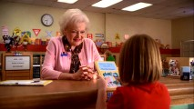 At the height of popularity, Betty White guest stars as school librarian Mrs. Nethercott, seen here recommending a Betsy-Tacy book with a smile. With the delinquent Brick, she gets tough.