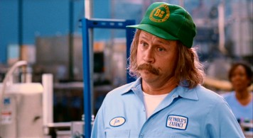 "In addition to writing and directing the film, Mike Judge gives an uncredited tummy-padded performance as mustachioed factory worker Jim in ""Extract."""