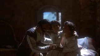 Healed by Jesus after knocking on death's door, Tamar embraces her parents.