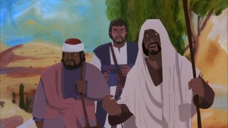 On the road to Emmaus, the newly-resurrected Jesus goes unrecognized by two of his disciples in one of several traditionally-animated sequences.